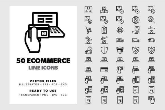 Download Free 50 Ecommerce Line Icons Graphic By Borisfarias Creative Fabrica for Cricut Explore, Silhouette and other cutting machines.