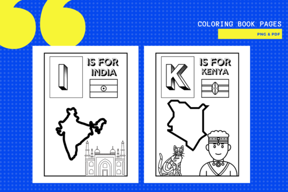 Print on Demand: A-Z Countries, Flags & Coloring Pages Graphic Teaching Materials By yumbeehomeschool - Image 2