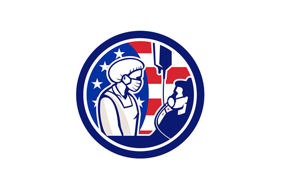 American Doctor Tending Covid 19 Patient Graphic By Patrimonio