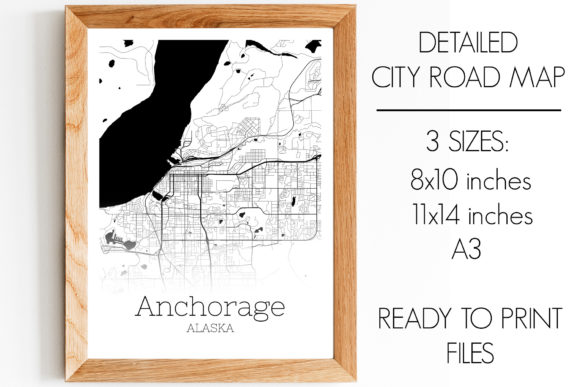Print on Demand: Anchorage Alaska City Map Graphic Photos By SVGExpress