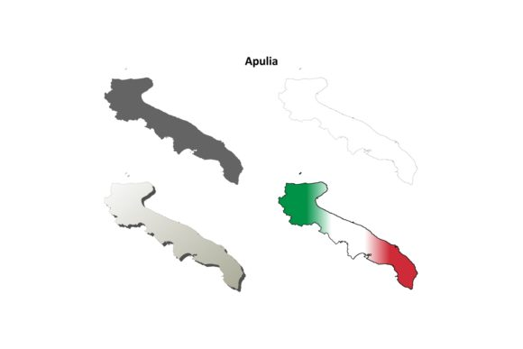 Download Free Apulia Outline Map Set Graphic By Davidzydd Creative Fabrica for Cricut Explore, Silhouette and other cutting machines.