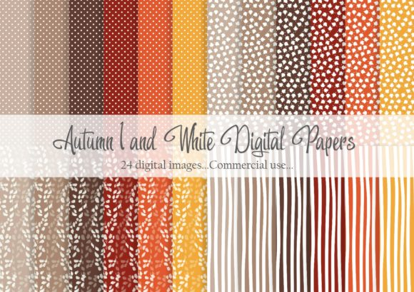 Print on Demand: Autumn 1 and White Digital Paper Graphic Patterns By Simply Paper Craft