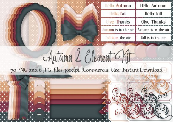 Download Free Autumn 2 Element Kit Graphic By Simply Paper Craft Creative for Cricut Explore, Silhouette and other cutting machines.