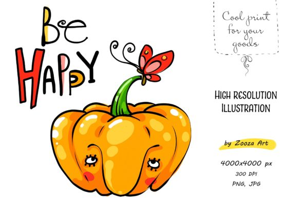 Print on Demand: Be Happy Pumpkin Illustration Graphic Illustrations By Zooza Art