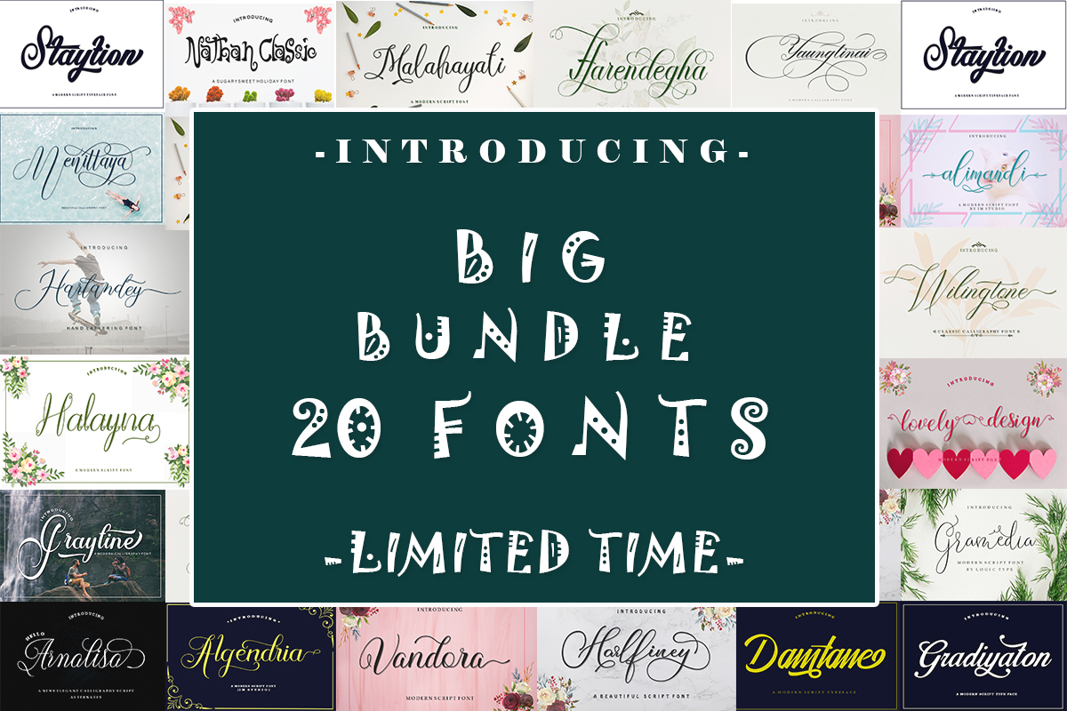 Big Bundle – 20 Fonts Free Download