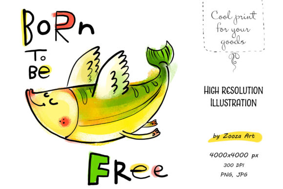 Download Free Born To Be Free Flying Fish Graphic By Zooza Art Creative for Cricut Explore, Silhouette and other cutting machines.