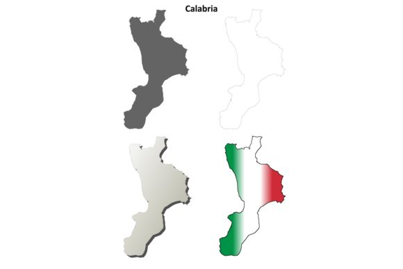 Download Free Calabria Outline Map Set Graphic By Davidzydd Creative Fabrica SVG Cut Files