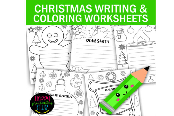 Print on Demand: Christmas Coloring and Writing Papers Graphic K By Happy Printables Club