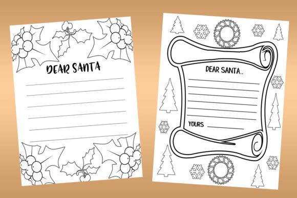 Download Free Christmas Coloring And Writing Papers Graphic By Happy for Cricut Explore, Silhouette and other cutting machines.