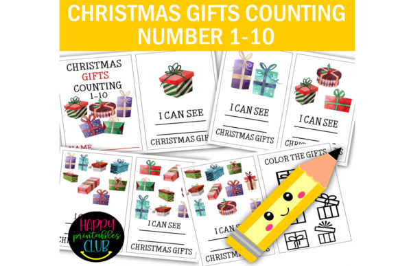 Print on Demand: Christmas Gifts Counting Numbers 1-10 Graphic K By Happy Printables Club