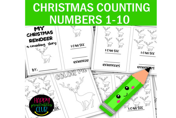 Print on Demand: Christmas Reindeer Counting 1-10 Numbers Graphic K By Happy Printables Club