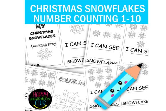Print on Demand: Christmas Snowflakes Number Counting Graphic K By Happy Printables Club