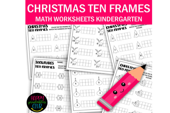 Print on Demand: Christmas Ten Frames Math Worksheets Graphic K By Happy Printables Club