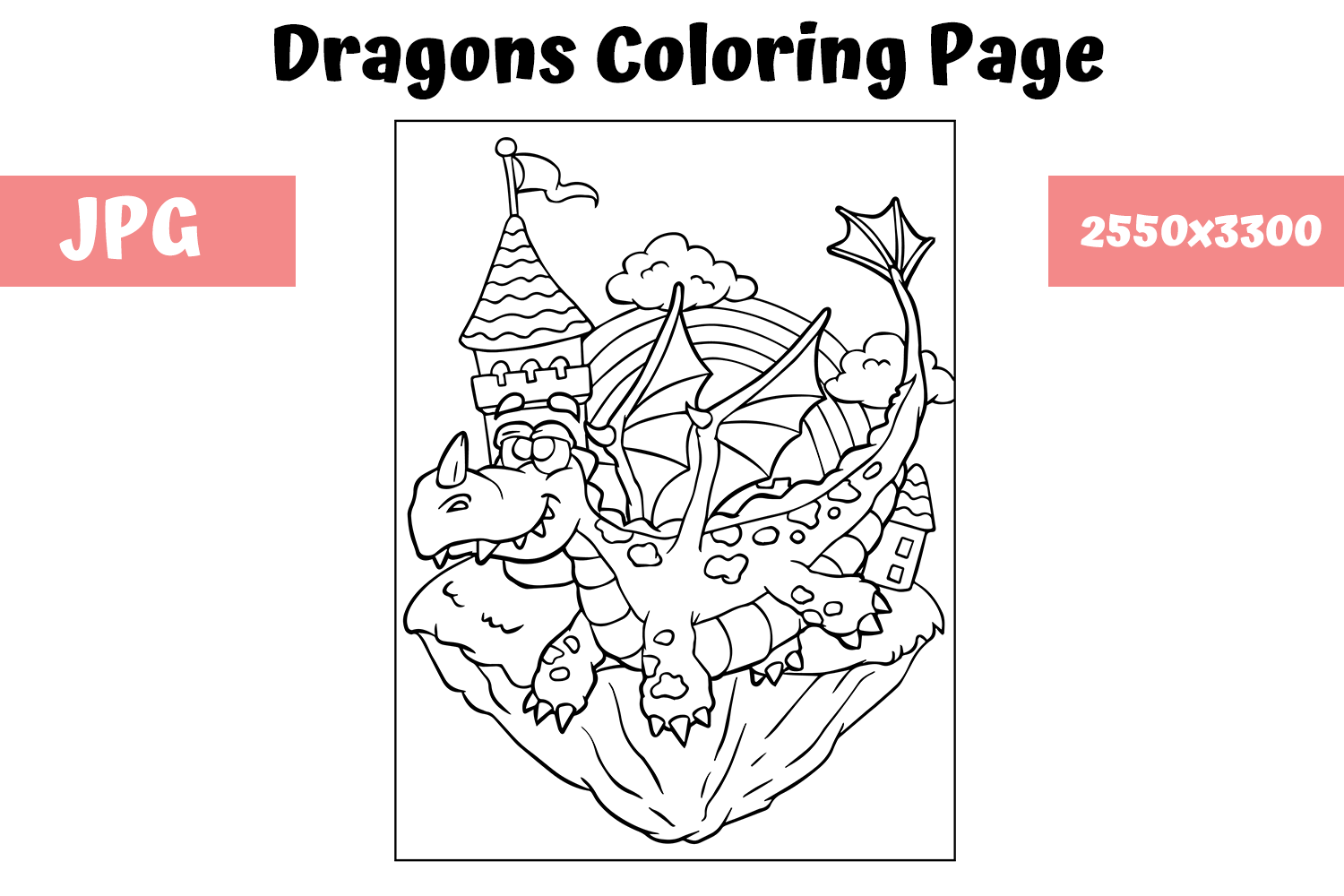 Download Free Coloring Page For Kids Dragon 1 Graphic By Mybeautifulfiles for Cricut Explore, Silhouette and other cutting machines.
