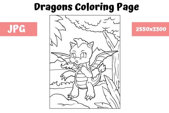 Print on Demand: Coloring Page for Kids - Dragon 10 Graphic Coloring Pages & Books Kids By MyBeautifulFiles