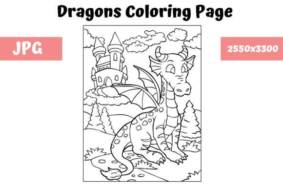 Print on Demand: Coloring Page for Kids - Dragon 11 Graphic Coloring Pages & Books Kids By MyBeautifulFiles
