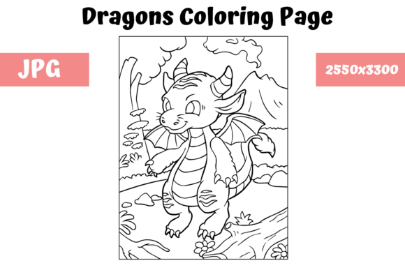 Print on Demand: Coloring Page for Kids - Dragon 12 Graphic Coloring Pages & Books Kids By MyBeautifulFiles