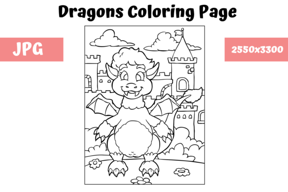 Download Free Coloring Page For Kids Dragon 13 Graphic By Mybeautifulfiles for Cricut Explore, Silhouette and other cutting machines.