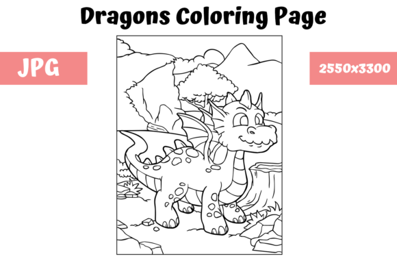 Print on Demand: Coloring Page for Kids - Dragon 14 Graphic Coloring Pages & Books Kids By MyBeautifulFiles