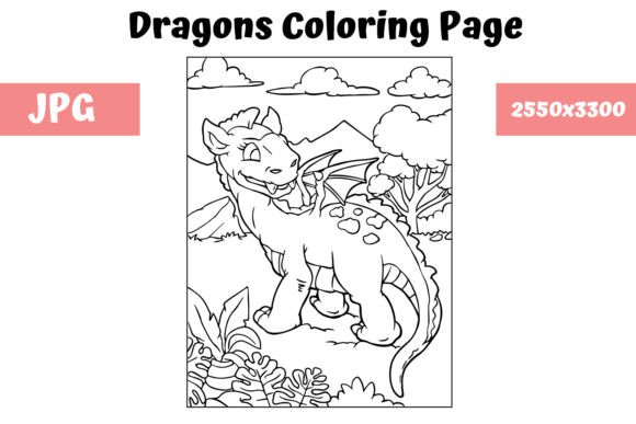 Print on Demand: Coloring Page for Kids - Dragon 15 Graphic Coloring Pages & Books Kids By MyBeautifulFiles
