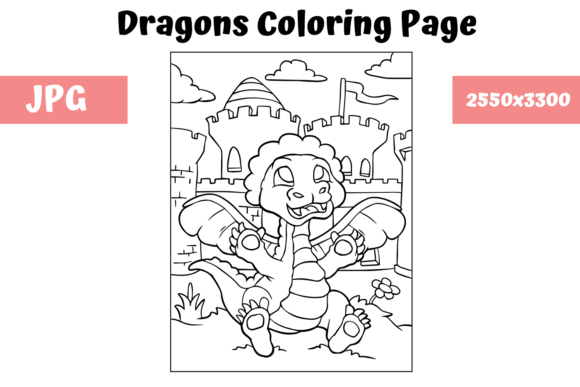 Print on Demand: Coloring Page for Kids - Dragon 4 Graphic Coloring Pages & Books Kids By MyBeautifulFiles