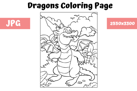 Print on Demand: Coloring Page for Kids - Dragon 5 Graphic Coloring Pages & Books Kids By MyBeautifulFiles