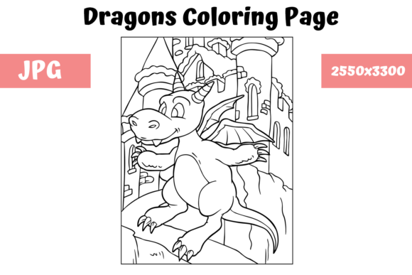 Print on Demand: Coloring Page for Kids - Dragon 6 Graphic Coloring Pages & Books Kids By MyBeautifulFiles