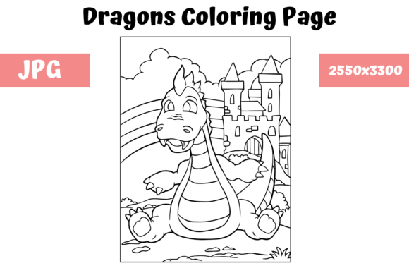 Download Free Coloring Page For Kids Dragon 10 Graphic By Mybeautifulfiles for Cricut Explore, Silhouette and other cutting machines.