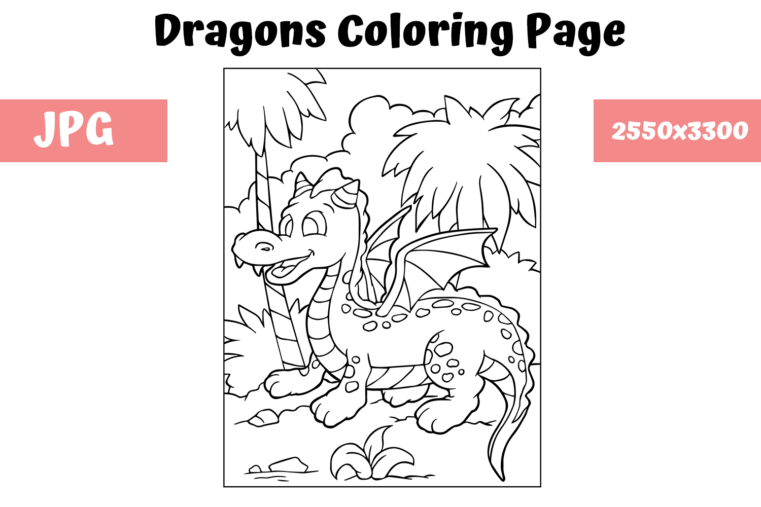 Download Free Coloring Page For Kids Dragon 8 Graphic By Mybeautifulfiles for Cricut Explore, Silhouette and other cutting machines.