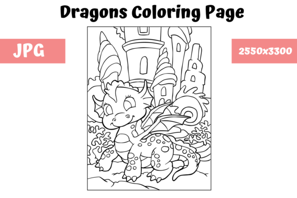 Download Free Coloring Page For Kids Dragon 9 Graphic By Mybeautifulfiles for Cricut Explore, Silhouette and other cutting machines.