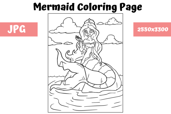Print on Demand: Coloring Page for Kids - Mermaid 1 Grafik Ausmalseiten & Malbücher für Kinder von MyBeautifulFiles
