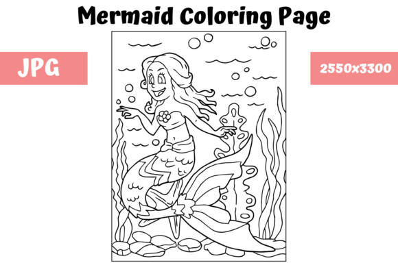 Print on Demand: Coloring Page for Kids - Mermaid 10 Graphic Coloring Pages & Books Kids By MyBeautifulFiles