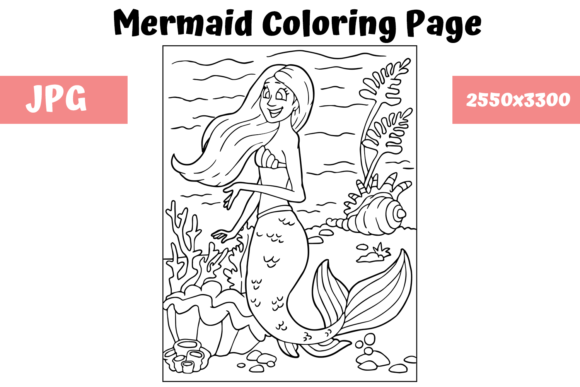 Download Free Coloring Page For Kids Mermaid 13 Graphic By Mybeautifulfiles for Cricut Explore, Silhouette and other cutting machines.