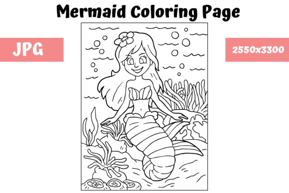 Print on Demand: Coloring Page for Kids - Mermaid 14 Graphic Coloring Pages & Books Kids By MyBeautifulFiles