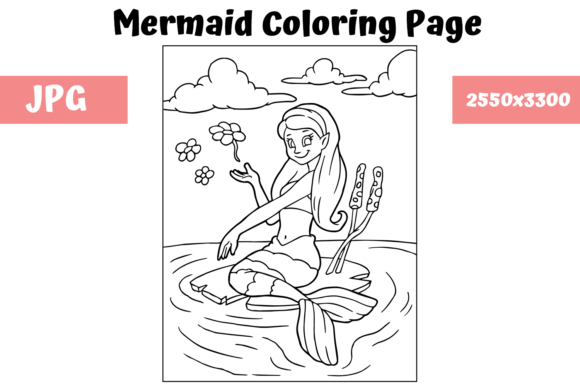 Download Free Coloring Page For Kids Mermaid 14 Graphic By Mybeautifulfiles for Cricut Explore, Silhouette and other cutting machines.