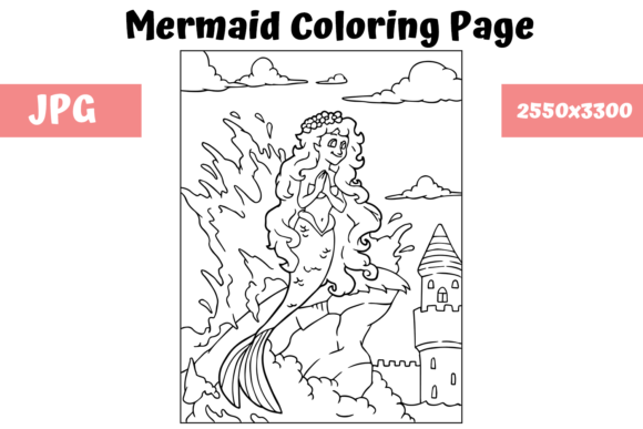 Print on Demand: Coloring Page for Kids - Mermaid 2 Graphic Coloring Pages & Books Kids By MyBeautifulFiles