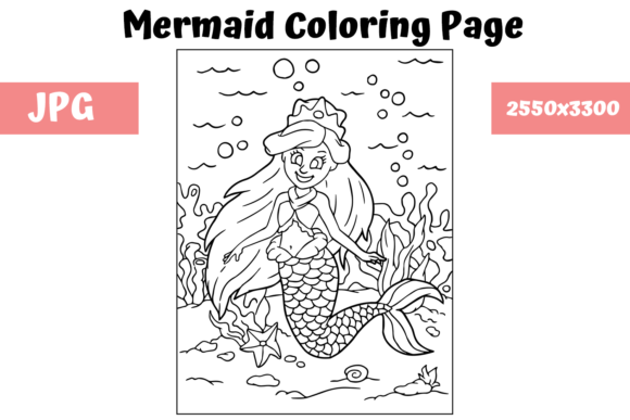 Print on Demand: Coloring Page for Kids - Mermaid 3 Graphic Coloring Pages & Books Kids By MyBeautifulFiles