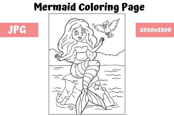 Print on Demand: Coloring Page for Kids - Mermaid 5 Graphic Coloring Pages & Books Kids By MyBeautifulFiles