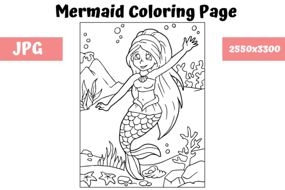 Download Free Coloring Page For Kids Mermaid 6 Graphic By Mybeautifulfiles for Cricut Explore, Silhouette and other cutting machines.
