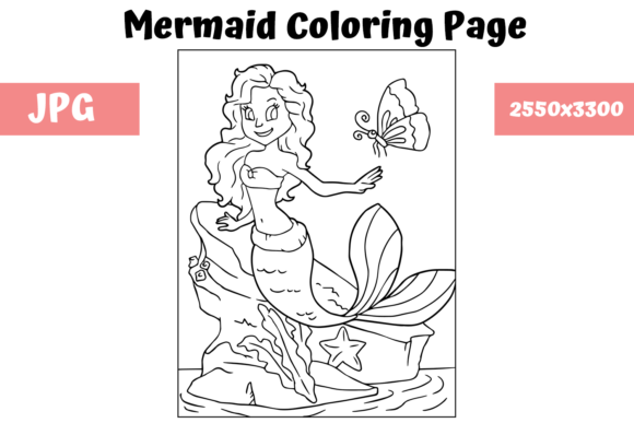 Download Free Coloring Page For Kids Mermaid 7 Graphic By Mybeautifulfiles Creative Fabrica for Cricut Explore, Silhouette and other cutting machines.