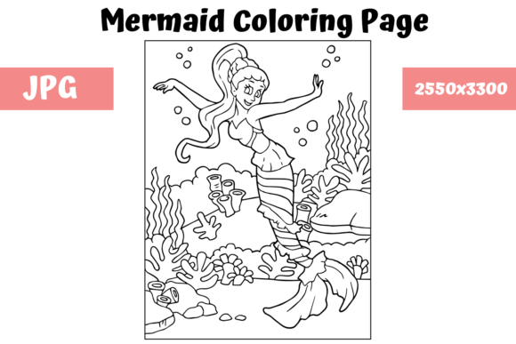 Print on Demand: Coloring Page for Kids - Mermaid 8 Graphic Coloring Pages & Books Kids By MyBeautifulFiles