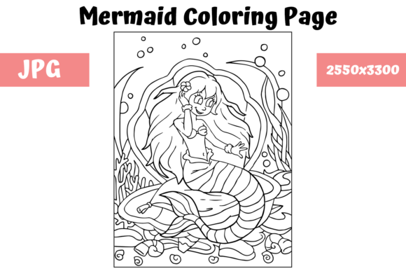 Print on Demand: Coloring Page for Kids - Mermaid 9 Graphic Coloring Pages & Books Kids By MyBeautifulFiles