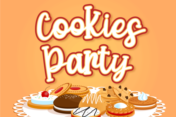 Download Free Cookies Party Font By Attypestudio Creative Fabrica for Cricut Explore, Silhouette and other cutting machines.