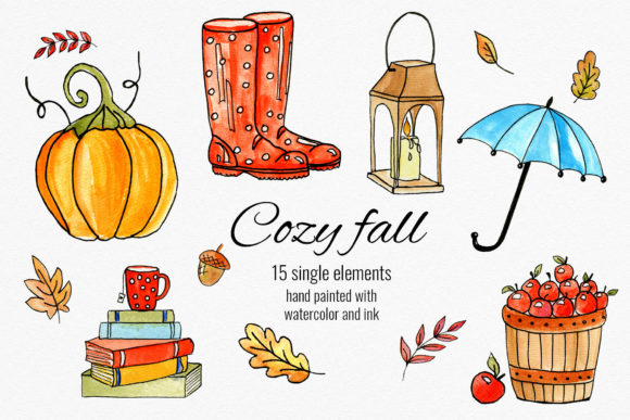Cozy Fall Watercolor Set Graphic Illustrations By RedDotsHouse