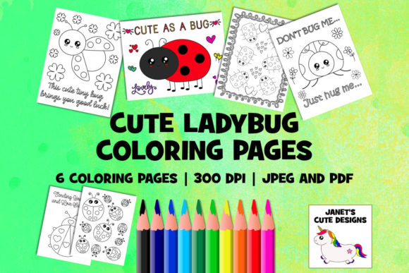Print on Demand: Cute Ladybug Coloring Pages Graphic Coloring Pages & Books By Janet's Cute Designs