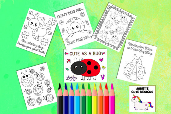 Cute Ladybug Coloring Pages Graphic By Janet S Cute Designs