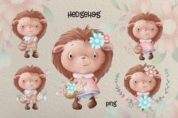 Print on Demand: Cute Little Hedgehogs Graphic Illustrations By nicjulia - Image 2