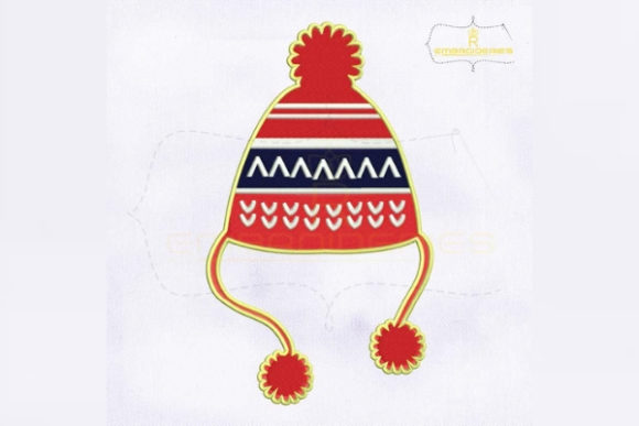 Decorative Red Christmas Hat Christmas Embroidery Design By RoyalEmbroideries