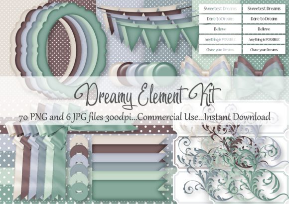 Download Free Dreamy Element Kit Graphic By Simply Paper Craft Creative Fabrica for Cricut Explore, Silhouette and other cutting machines.