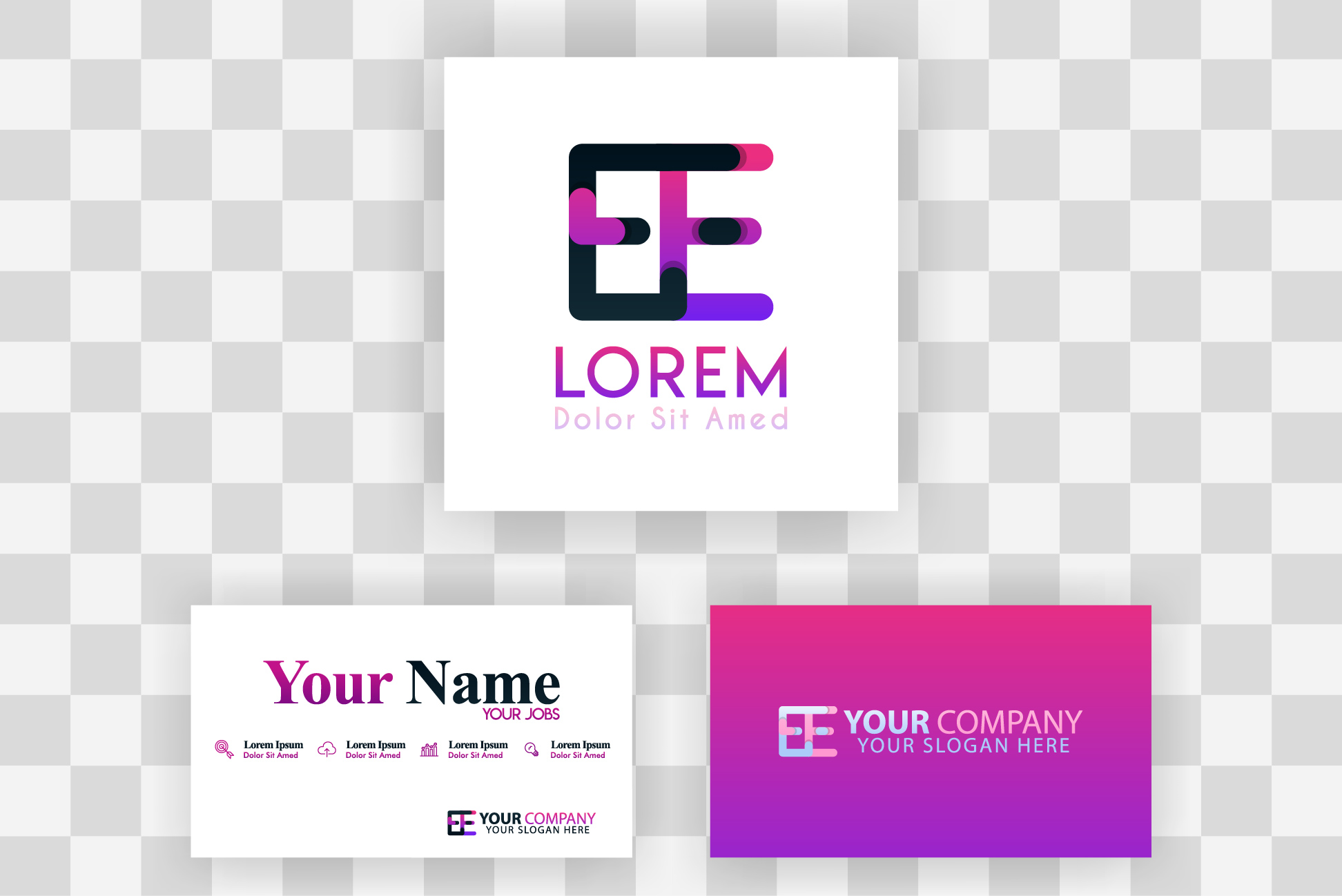 Download Free Ee Letter Logo And Card Template Graphic By Setiawanarief111 for Cricut Explore, Silhouette and other cutting machines.
